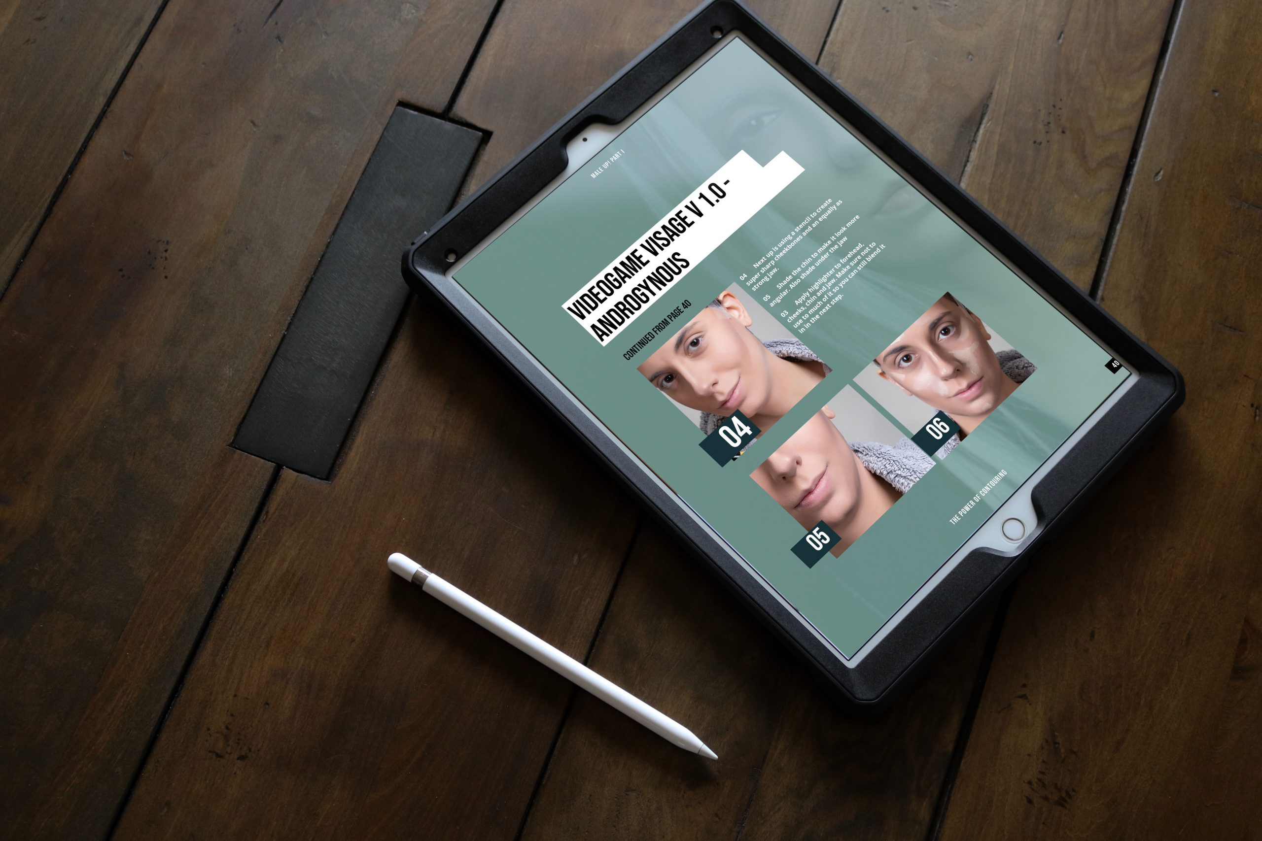 "A mock-up showing an iPad that displays our eBook ""MALE UP! The Art of Contouring"""
