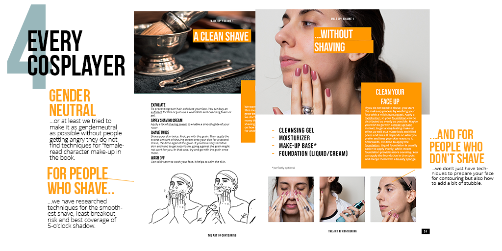 The image shows two pages from our cosplay make-up book which are for people who shave and for people who do not shave. It is to illustrate that we made a book for everyone