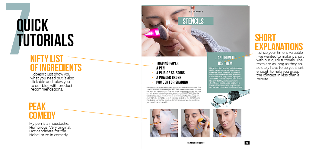 The image shows a page from our cosplay make-up tutorial book with a quick tutorial on stencils