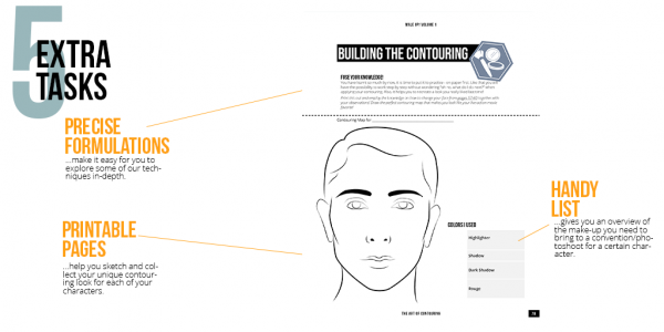 An image from our book that shows a page with extra tasks. You can draw a contouring mak for your character onto this one.